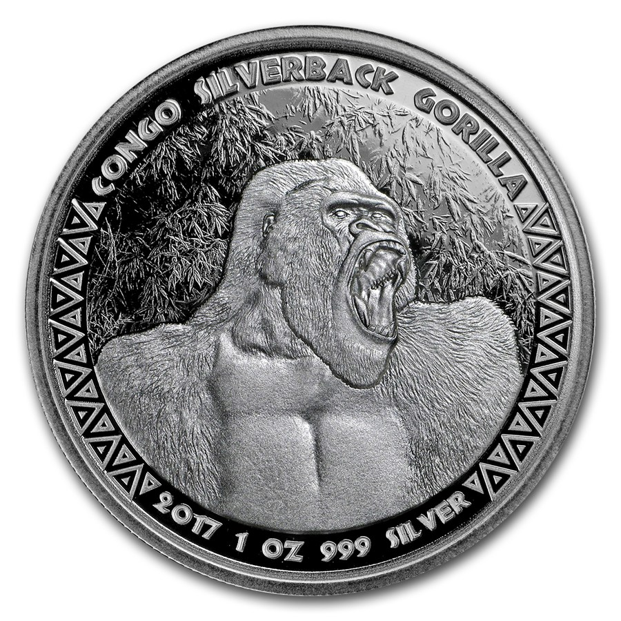 1 OZ SILVER RPC SILVERBACK GORILLA BU 2017 (Coin 3 in series)