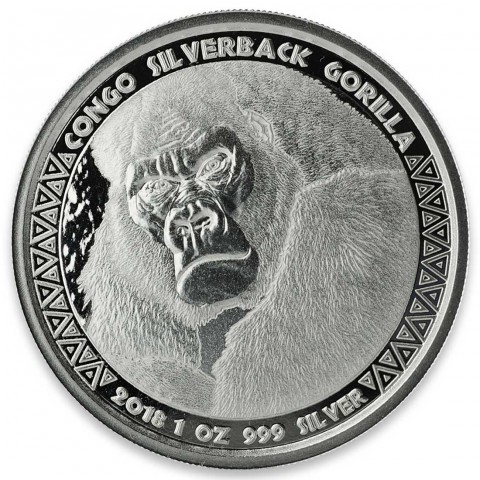 1 OZ SILVERBACK GORILLA BU 2018 (Coin 4 in series)