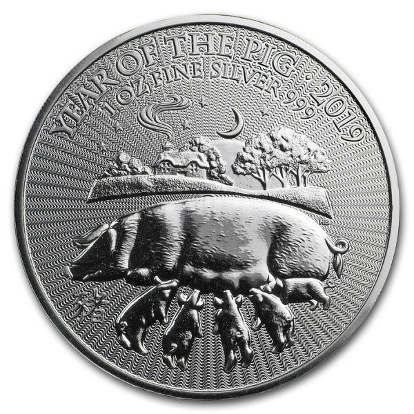 1 oz GB Silver Year of the Pig BU (2019)
