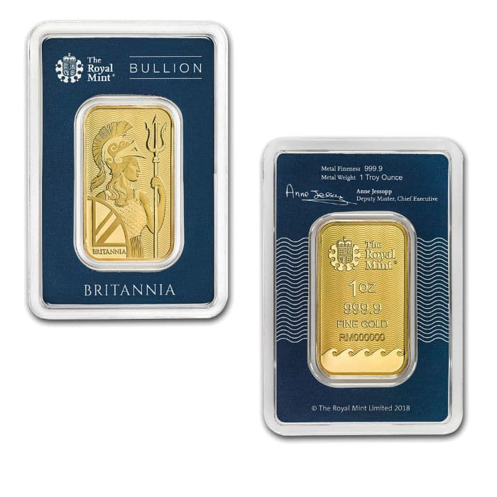 1 Oz Royal Mint Britannia Gold Bar In Assay