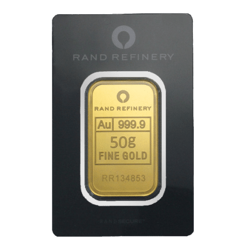 Rand Refinery Minted Gold Bar 50 grams (999.9 Fine)