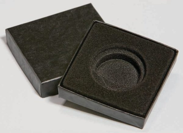 Black Paper Wrapped Cardboard Coin Gift Box (Fits H38 – H40 Capsules)