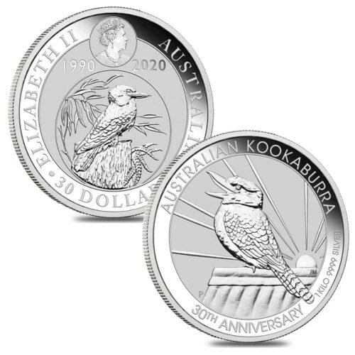 1 KG Australian Silver Kookaburra 30th Anniversary